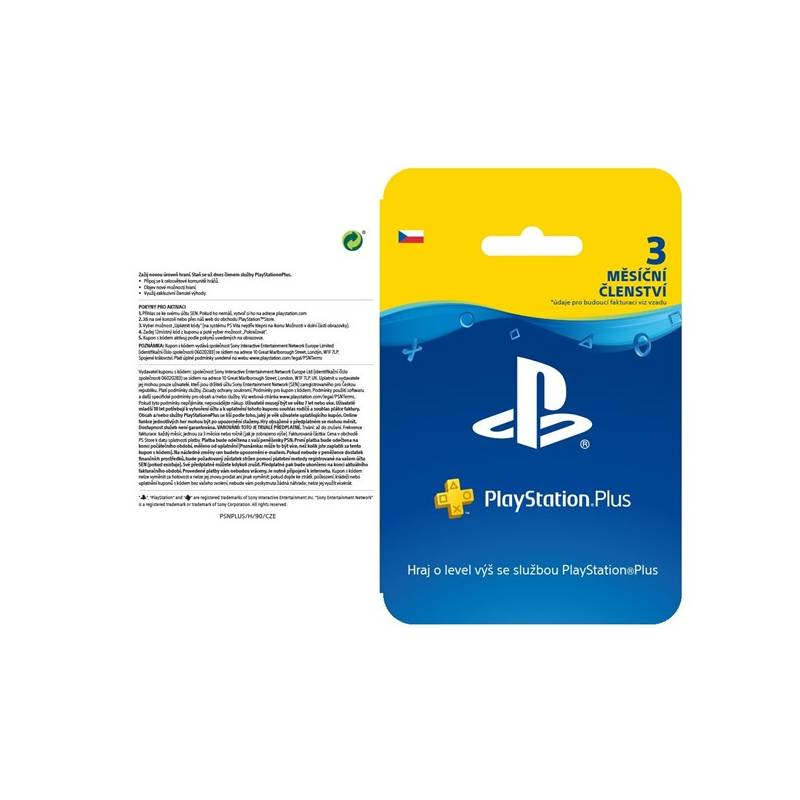 Predplatená karta Sony PlayStation Plus Card 90 dní - pouze pro CZ PS Store (PS719810742)