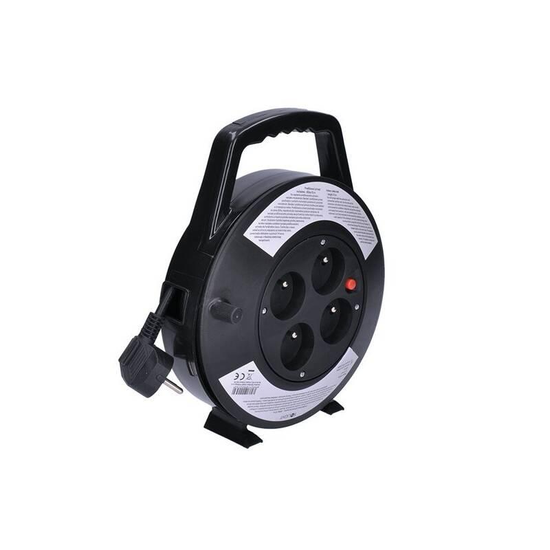 Kabel prodlužovací na bubne Solight 4 zásuvky, 10m, 3x 1,0mm2 (PB21B) čierny