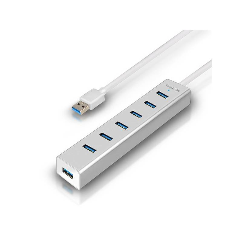 USB Hub Axagon USB / 7x USB 3.0 (HUE-SA7SP) strieborný