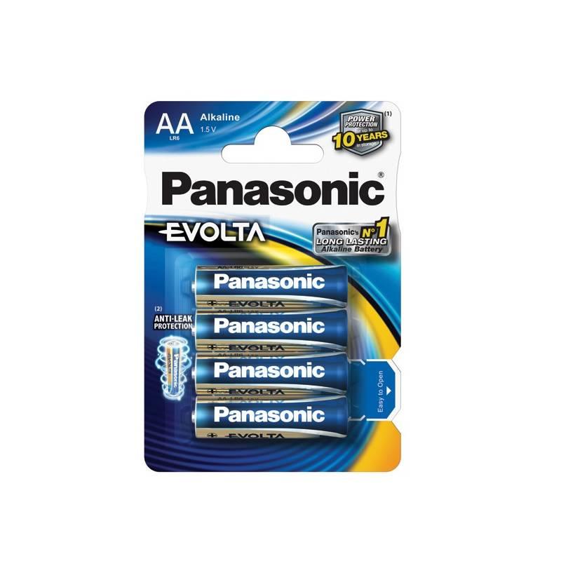Batéria alkalická Panasonic AA, LR6, Evolta, blistr 4ks