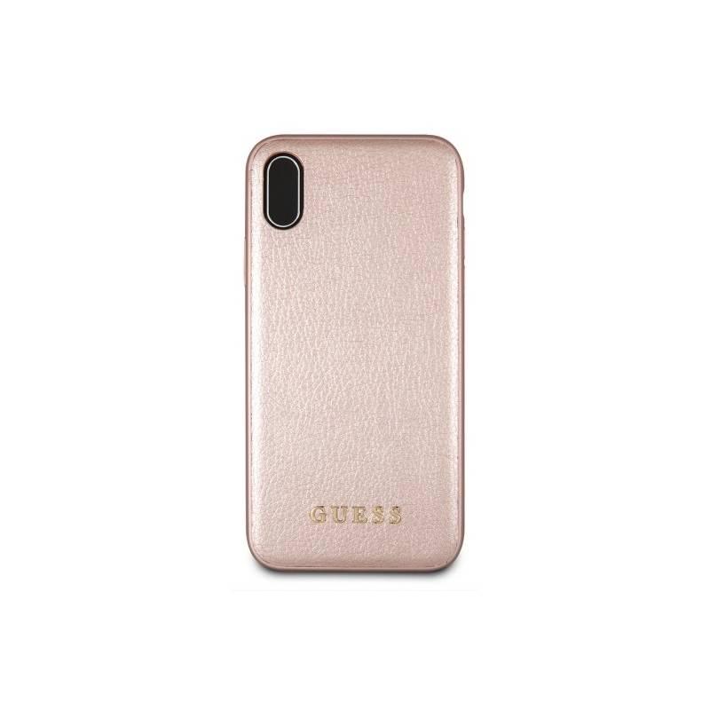 Kryt na mobil Guess Leather Hard Case Iridescent pro Apple iPhone Xs Max (GUHCI65IGLRG) ružový