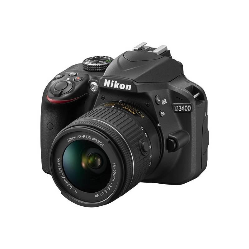 Digitálny fotoaparát Nikon D3400 + AF-P 18-55 VR + 4x čištění čipu zdarma (VBA490K001) čierny