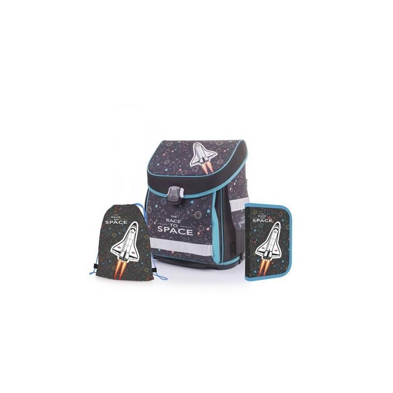 Školský set P + P Karton PREMIUM FLEXI Space/Raketoplán Sáček na přezůvky P + P Karton OXY Neon Dark Blue (zdarma)