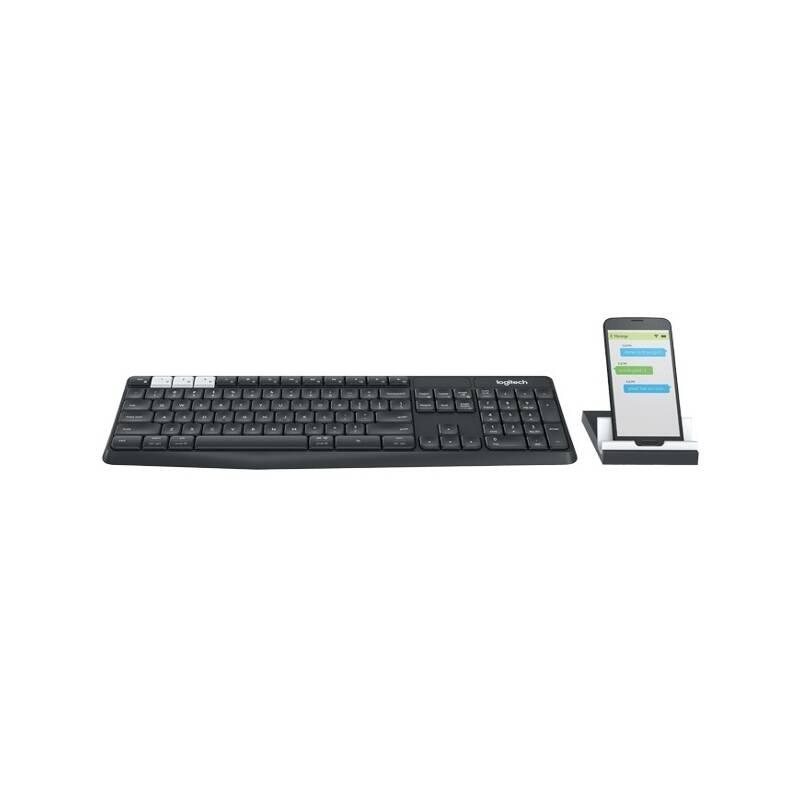 Klávesnice Logitech Wireless K375s CZ + stojan na mobil/tablet - černá