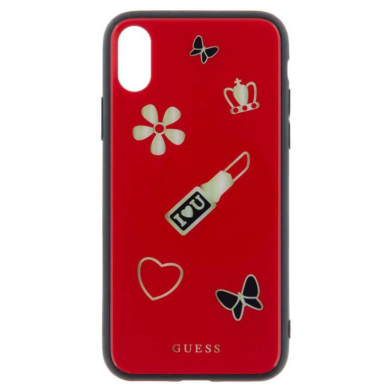 Kryt na mobil Guess Iconic Case pro iPhone X (GUHCPXACLSRE) červený