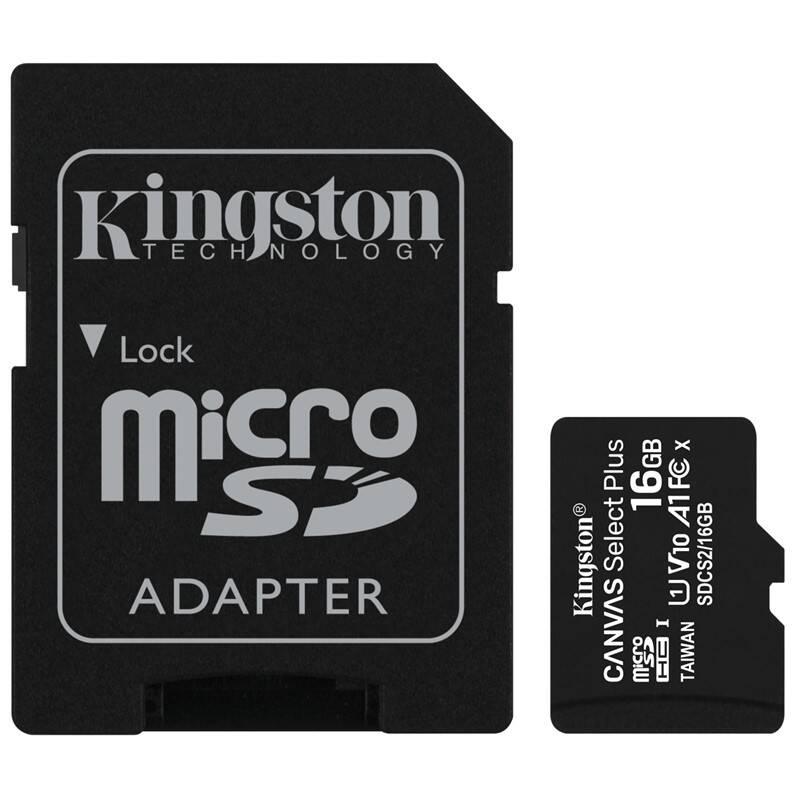 Pamäťová karta Kingston Canvas Select Plus MicroSDHC 16GB UHS-I U1 (100R/10W) + adapter (SDCS2/16GB)