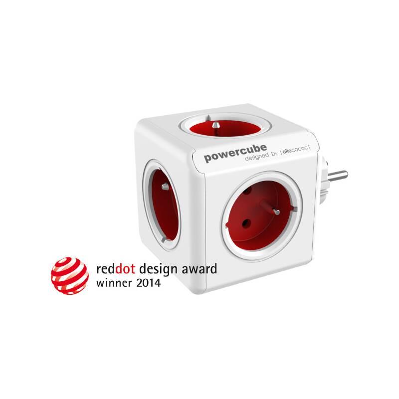 Zásuvka Powercube Original, 5x zásuvka biela/červená