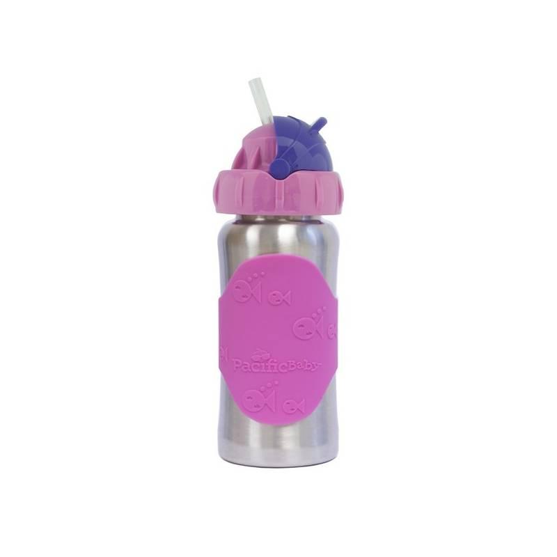 Detská fľaša Pacific Baby GroGrow nerezová ekololáhev s brčkem 300ml ružová