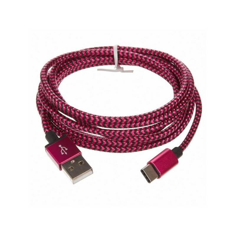 Kábel CellFish USB/USB-C, 2m (PLUSBCKABELPINK2M) ružový