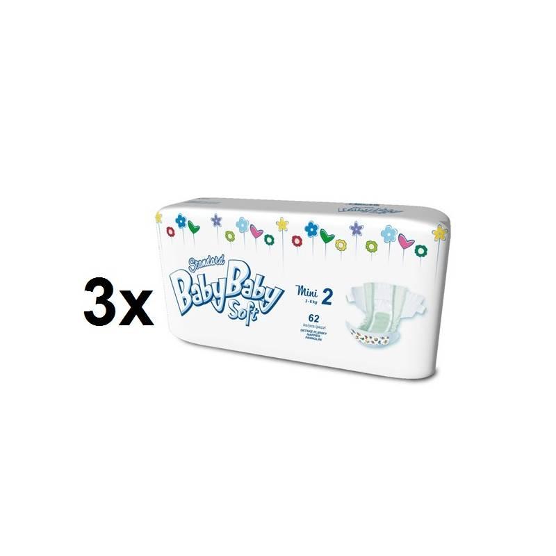 Plienky BabyBaby Soft Standard MINI vel. 2, 3-6kg (186ks) biele