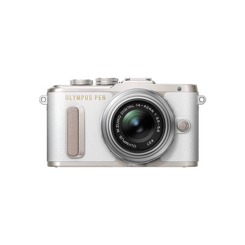 Digitálny fotoaparát Olympus PEN E-PL8 strieborný/biely Dalekohled Olympus 8x21 DPC-I, modrý (zdarma) + Doprava zadarmo