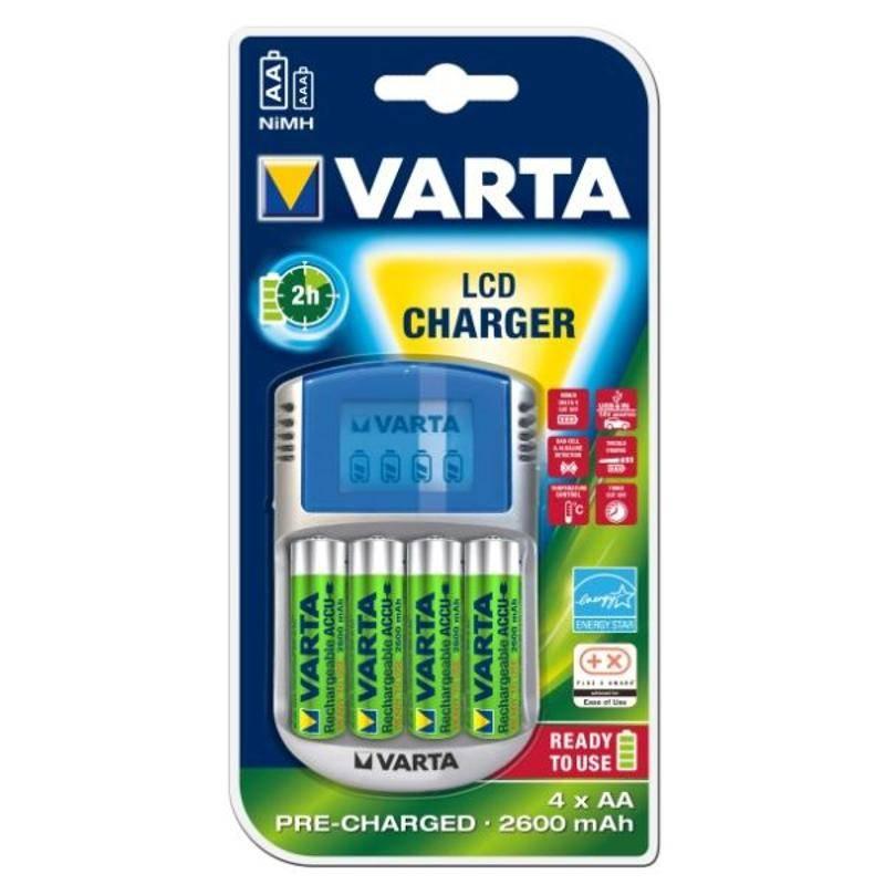 Nabíjačka Varta LCD Charger + AA, 2 600 mAh, 4 ks
