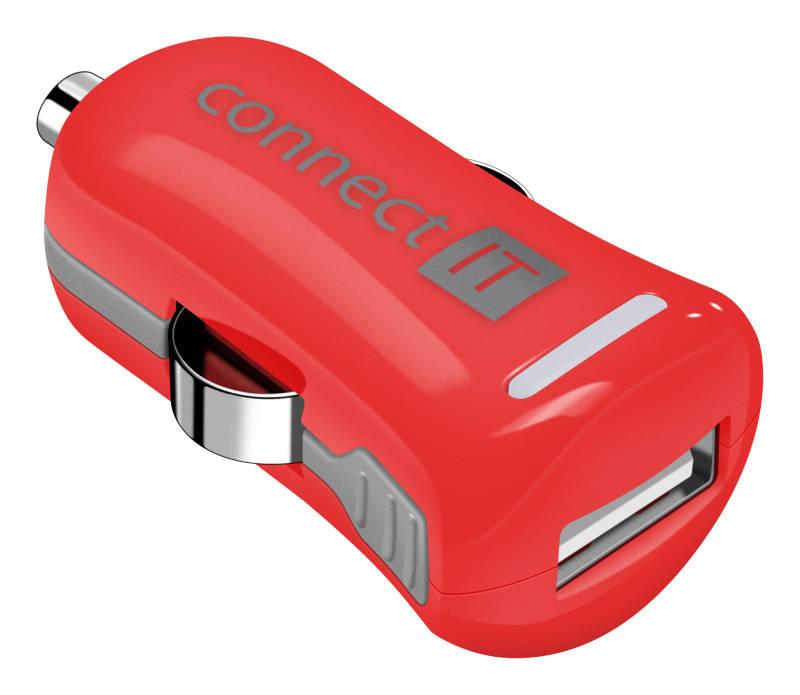 Adaptér do auta Connect IT InCarz COLORZ 1xUSB, 2,1A (V2) (CI-1121) červený