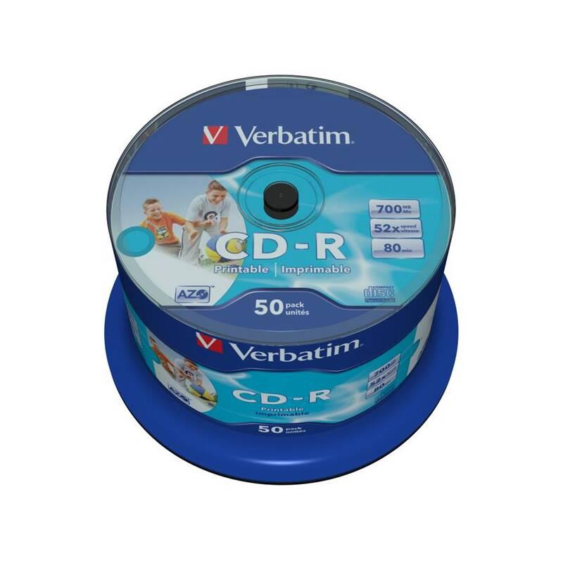 Disk Verbatim Printable CD-R DLP 700MB/80min, 52x, 50-cake (43438)