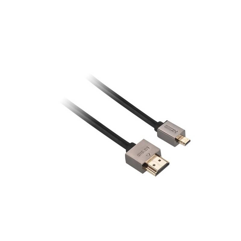 Kábel GoGEN HDMI / HDMI micro, 1,5m, v1.4, pozlacený, High speed, s ethernetem (GOGMICHDMI150MM01) čierny