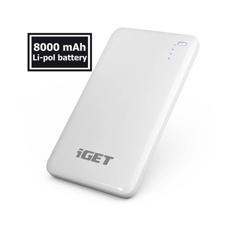 Power Bank iGET POWER B 8000mAh (B-8000) biela