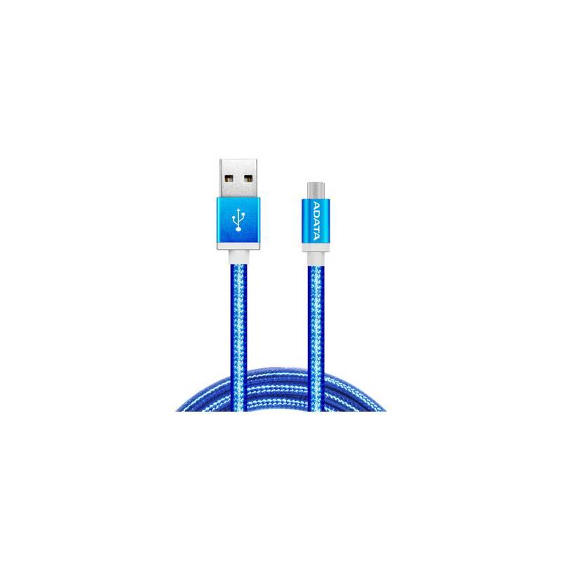 Kábel ADATA MicroUSB, 1m, pletený (AMUCAL-100CMK-CBL) modrý