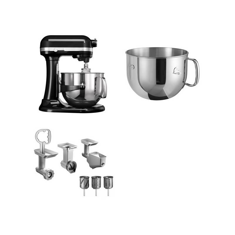 Set KitchenAid - kuchyňský robot 5KSM7580XEOB + 5KR7SB mísa 6,9 l + FPPC balíček s příslušenstvím + Doprava zadarmo