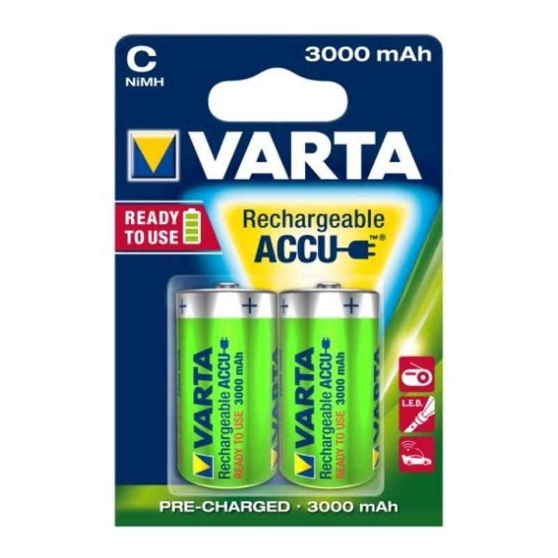 Batéria nabíjacie Varta Rechargeable Accu, C, 3 000 mAh, 2 ks