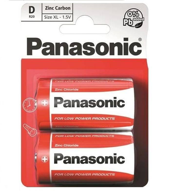 Baterie zinkochloridová Panasonic D, R20, blistr 2ks (3845)