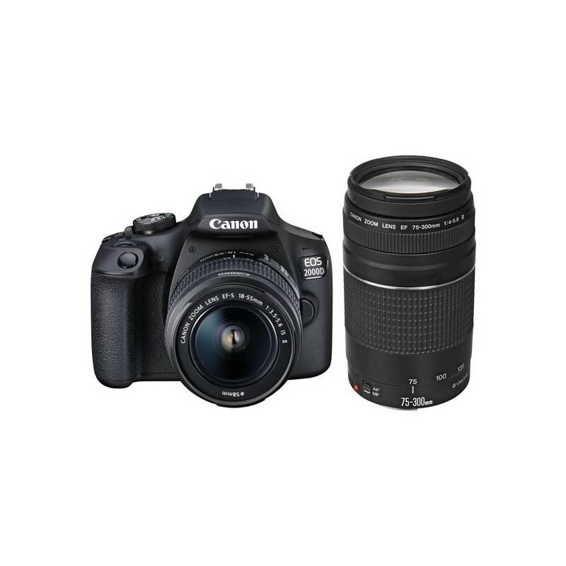 Digitálny fotoaparát Canon EOS 2000D + 18-55 IS II + 75-300 (2728C017AA) čierny