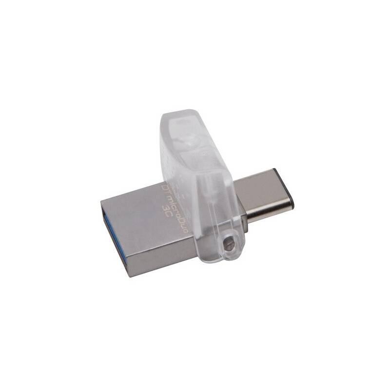 USB flash disk Kingston DataTraveler MicroDuo 3C 128GB OTG USB-C/USB 3.1 (DTDUO3C/128GB) strieborný