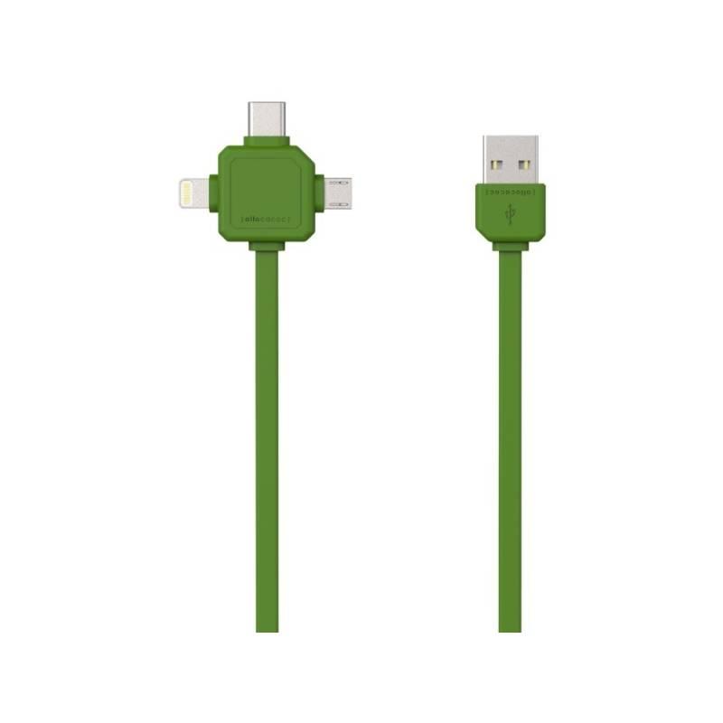 Kábel Powercube USB/micro USB + Lightning + USB-C, 1,5m (8719186003942) zelený