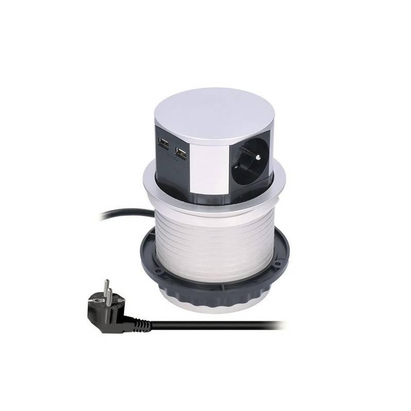 Kábel predlžovací Solight výsuvný blok, 3x zásuvka, 2x, USB, 1,5m (PP100USB) strieborný