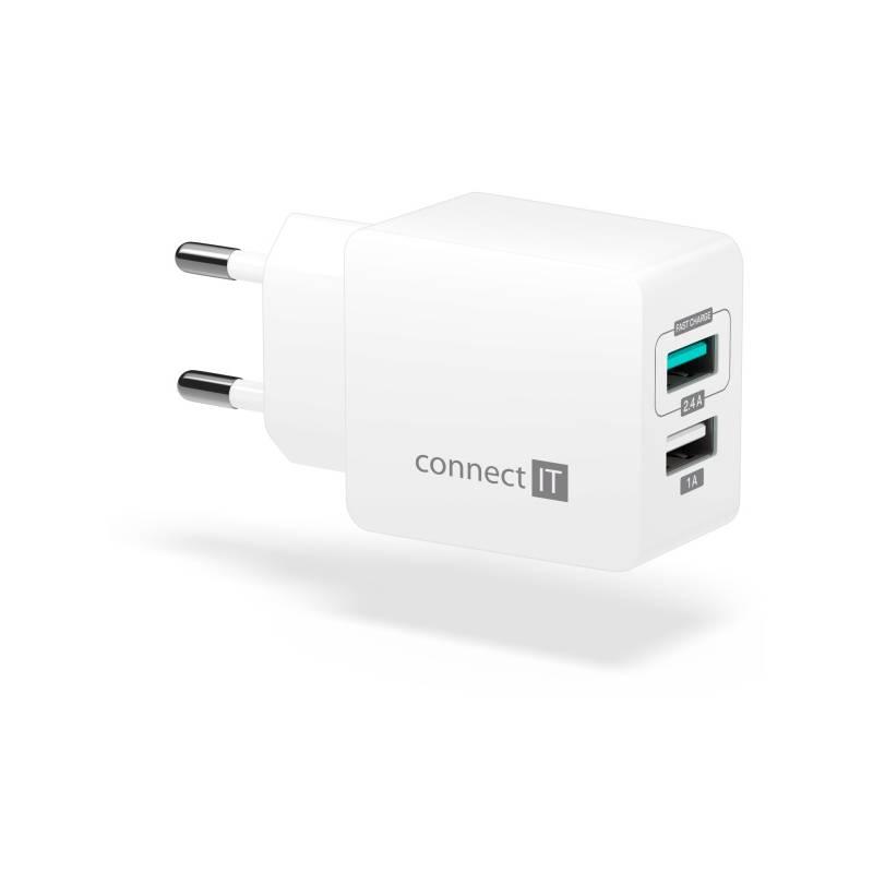 Nabíjačka do siete Connect IT Fast Charge 2x USB, 3,4A s funkcí rychlonabíjení (CWC-2015-WH) biela
