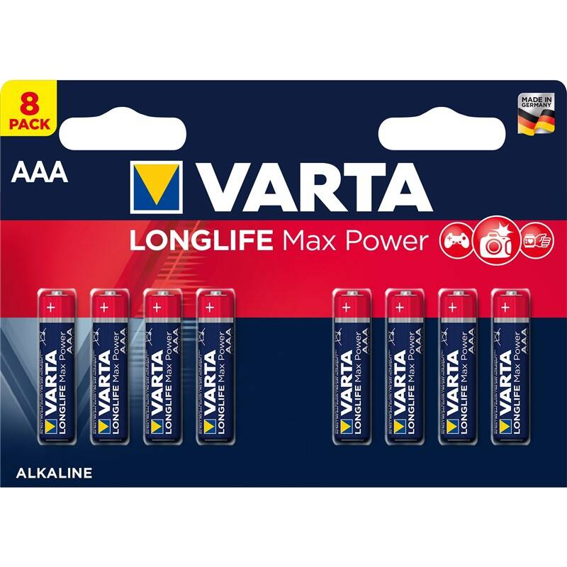 Batéria alkalická Varta Longlife Max Power AAA, LR03, blistr 8ks (4703101418)