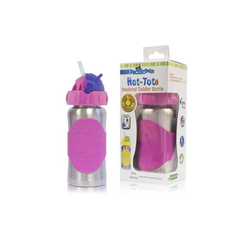 Detská termofľaša Pacific Baby Hot-Tot s brčkem 260 ml ružová