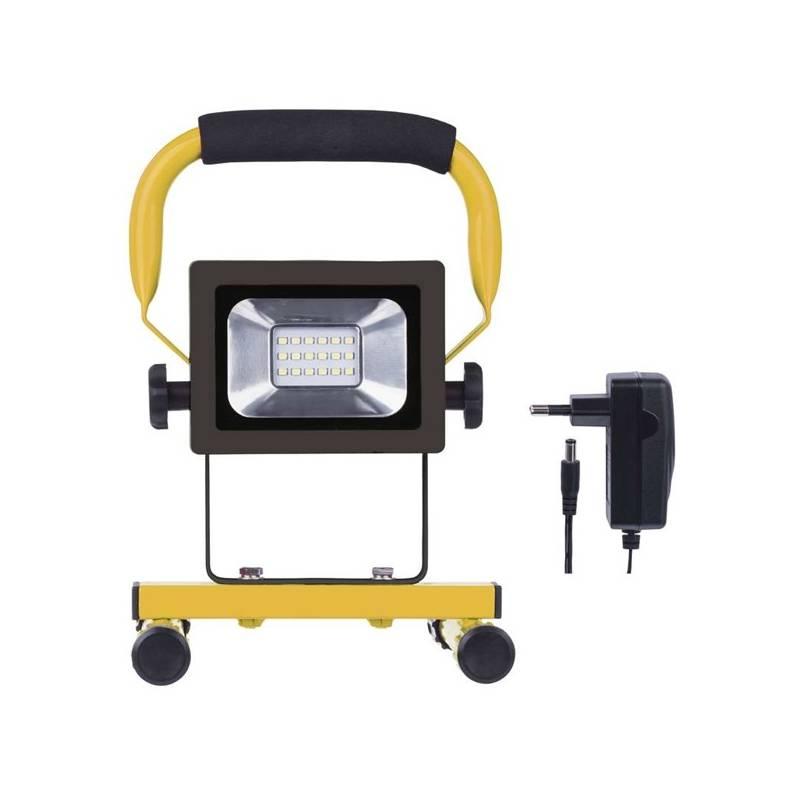 LED reflektor EMOS 10W, studená bílá, 750lm, přenosný, akumulátorový (1531281010) žltý