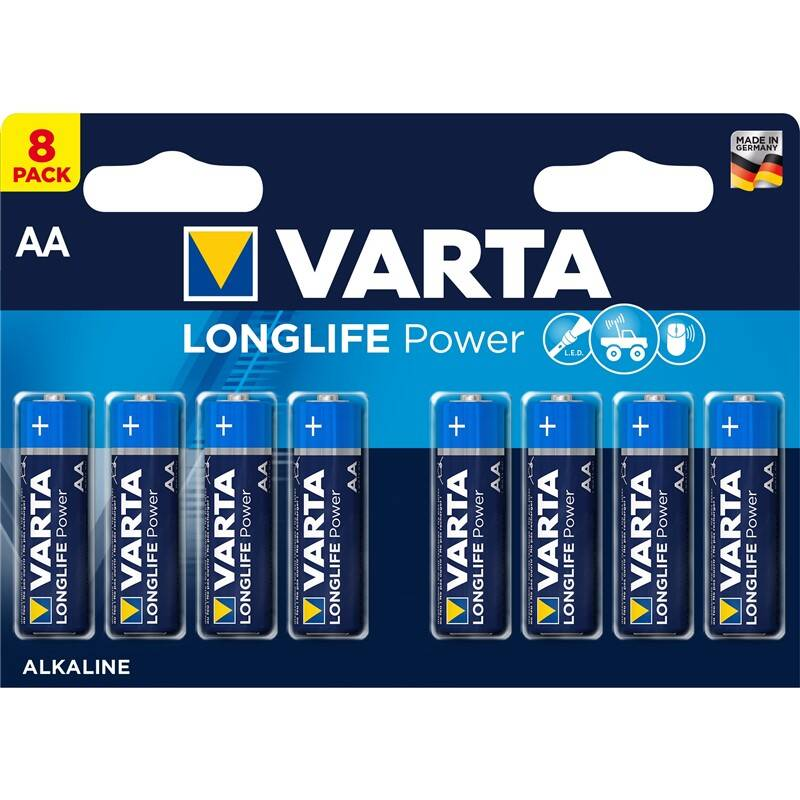 Batéria alkalická Varta Longlife Power AA, LR06, blistr 8ks (4906121418)