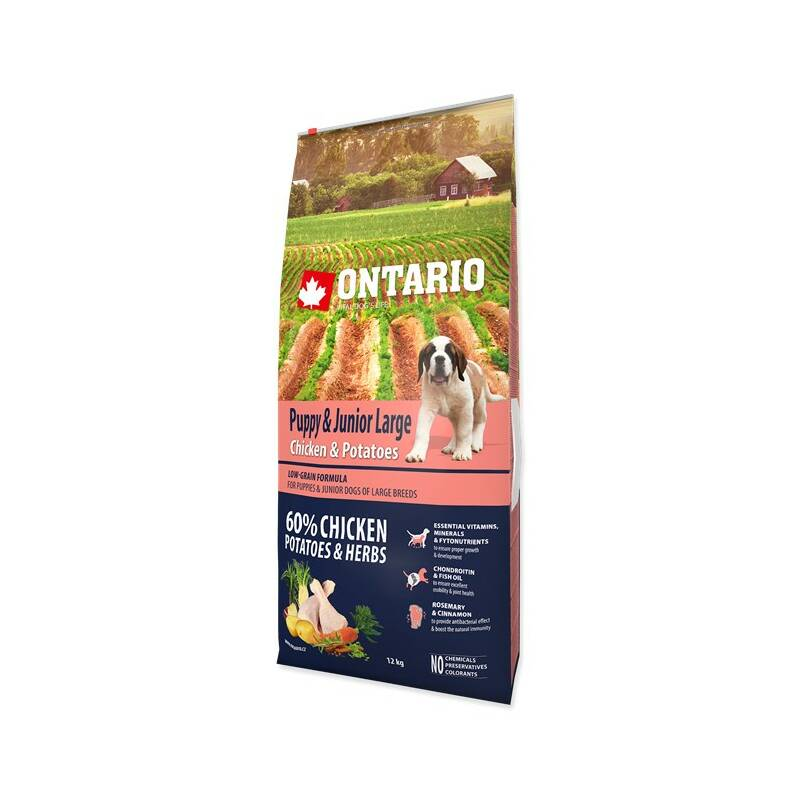 Granuly Ontario Puppy & Junior Large Chicken & Potatoes 12 kg + Doprava zadarmo