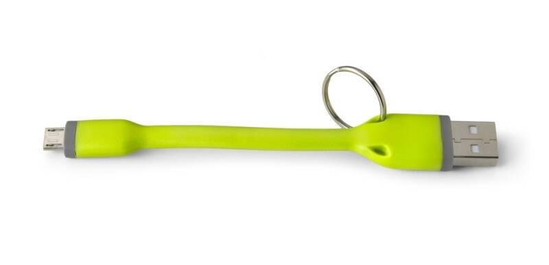 Kábel Celly micro USB kabel, přívěšek, 12 cm (451080) zelený