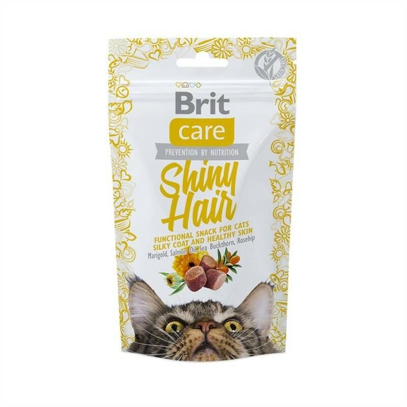 Pochúťka Brit Care Cat Snack Shiny Hair 50g