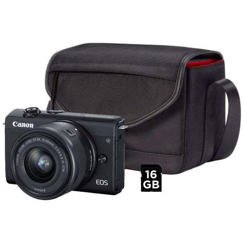 Digitálny fotoaparát Canon EOS M200 + EF-M 15-45 IS STM + SB130 + 16 GB karta (3699C040) čierny + Doprava zadarmo