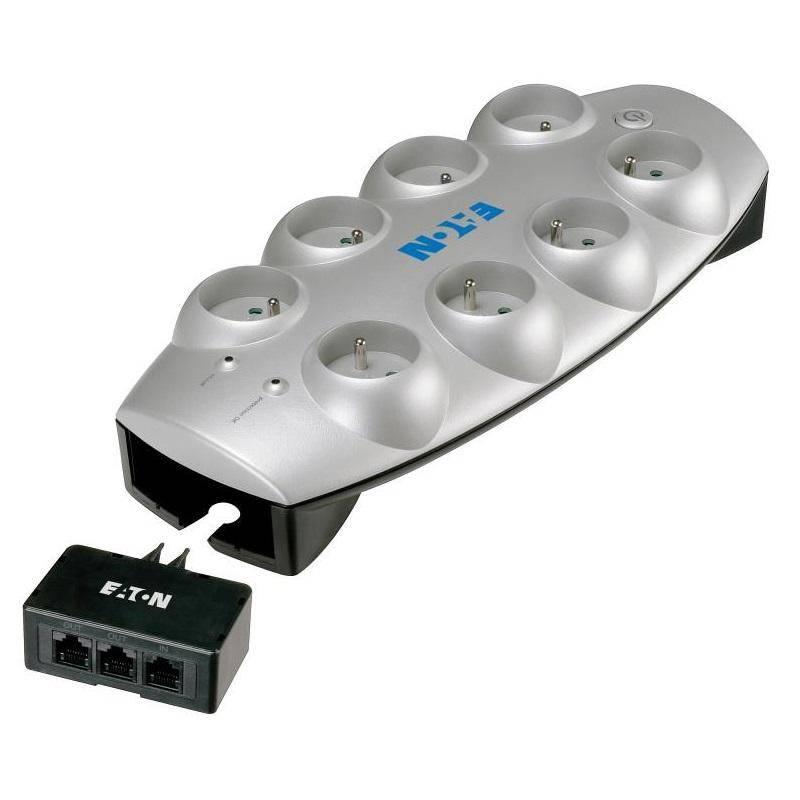 Prepäťová ochrana Eaton Protection Box Tel+TV, 8x zásuvka 1,8m (446982) strieborná