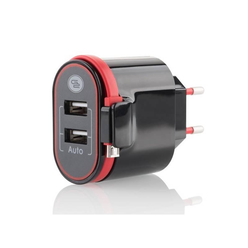 Nabíjačka do siete GoGEN ACH202C, 2xUSB, 2,4A, integrovaný Micro USB kabel (ACH202C)