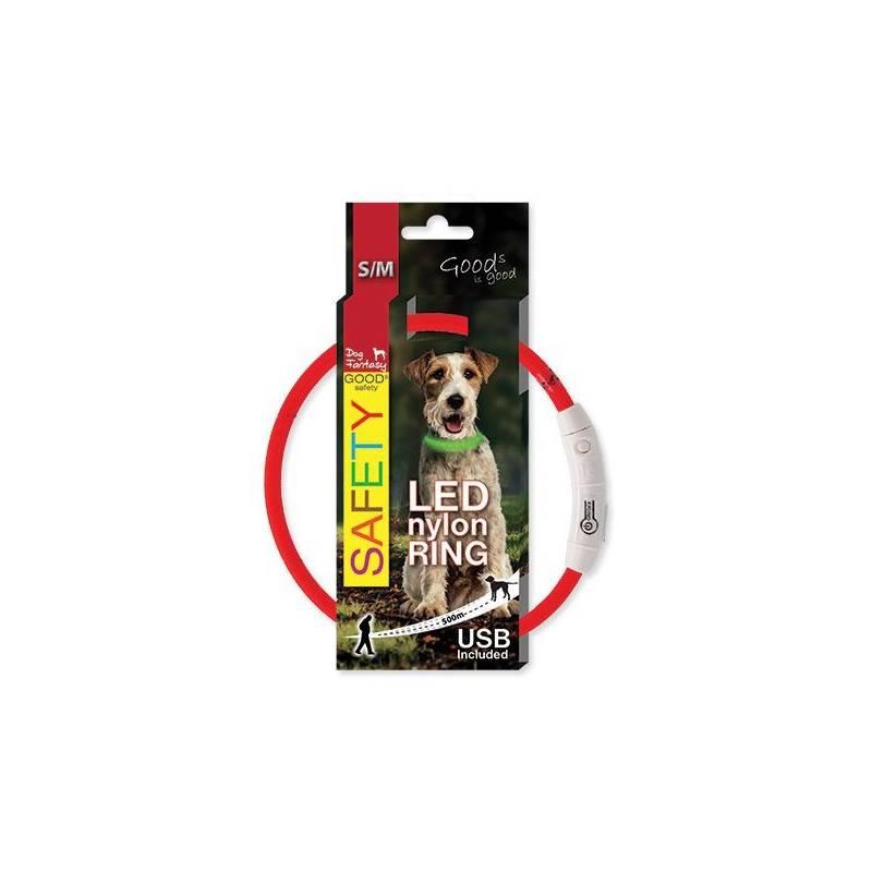 Obojok Dog Fantasy LED nylónový S/M červený