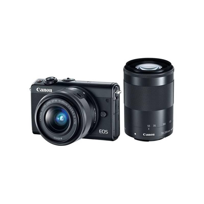 Digitálny fotoaparát Canon EOS M100 + EF-M 15-45mm IS STM + EF-M 55-200mm IS STM čierny + Doprava zadarmo