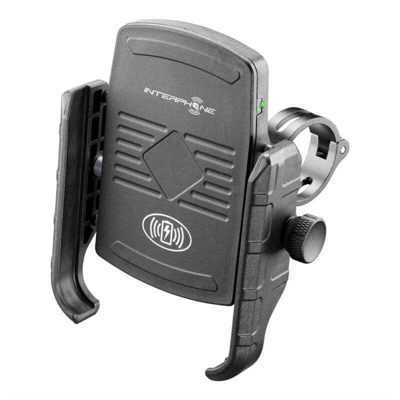 Držiak na mobil Interphone Motocrab s bezdrátovým nabíjením, na motorku (SMMOTOWIRELESS) čierny