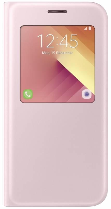 Pouzdro na mobil flipové Samsung S-View pro Galaxy A5 2017 (EF-CA520PPEGWW) růžové