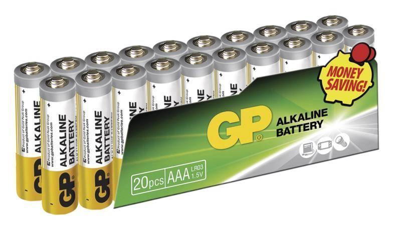 Baterie alkalická GP AAA, LR03, fólie 20ks (447663)