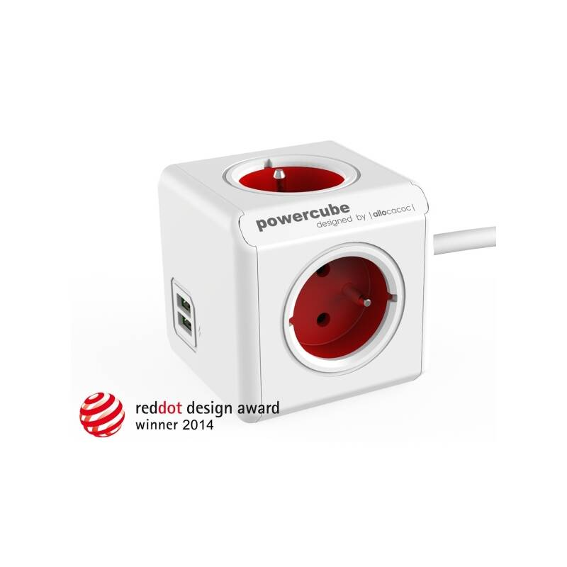 Kábel predlžovací Powercube Extended USB, 4x zásuvka, 2x USB, 1,5m biely/červený