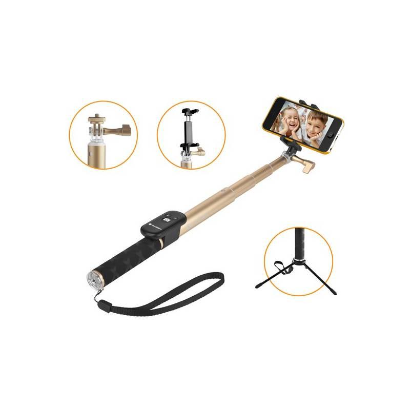 Selfie tyč GoGEN 4 teleskopická, bluetooth, zlatá