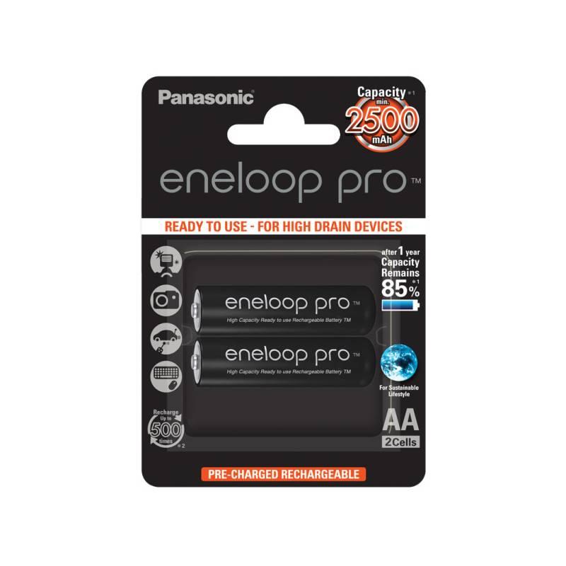 Batéria nabíjacie Panasonic Eneloop Pro AA, 2500mAh, 2 ks (BK-3HCDE/2BE) čierna
