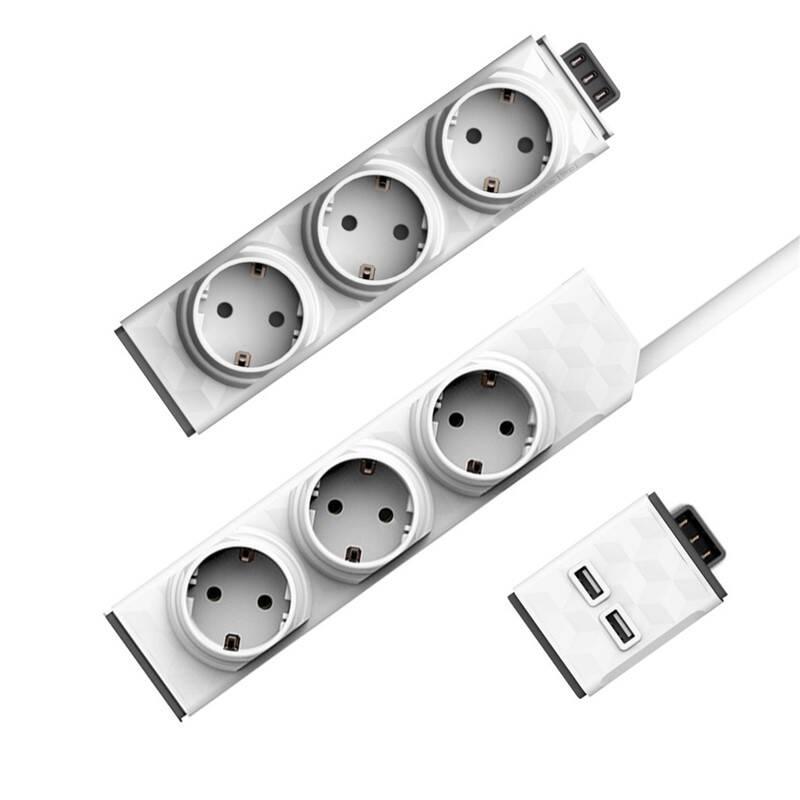 Kábel predlžovací Powercube PowerStrip Modular Switch 1,5 m + Zásuvkový modul + USB modul biely