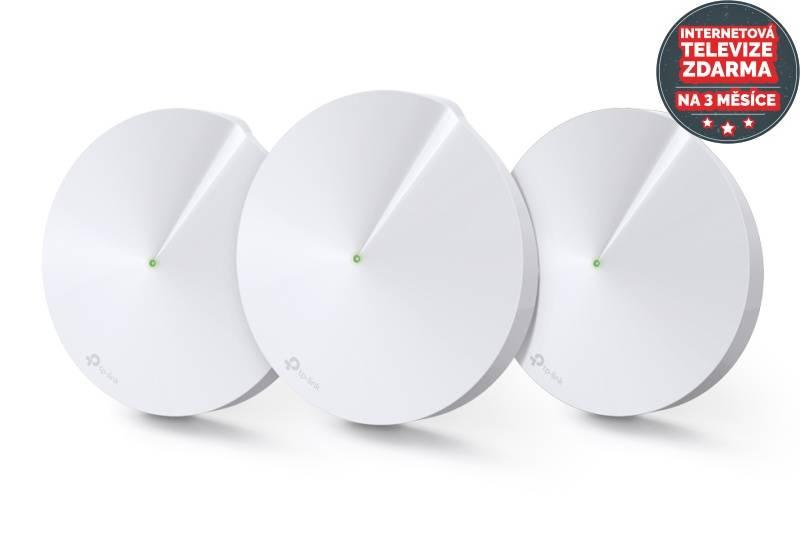 Kompletný Wi-Fi systém TP-Link Deco M5 AC1300 + IP TV na 3 měsíce ZDARMA (Deco M5(3-Pack)) biely