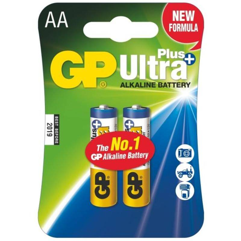 Baterie alkalická GP Ultra Plus AA, LR06, blistr 2ks